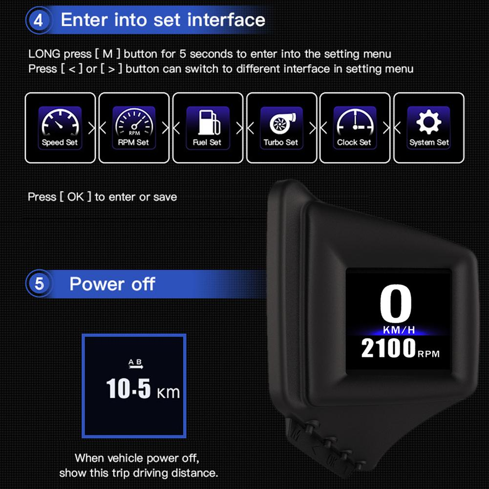 lowest price OBD GPS Dual System Head-up Display Display Car Digital Hud GPS Speedometer 2 Inches LCD Overspeed Alarm Car Speed Projector
