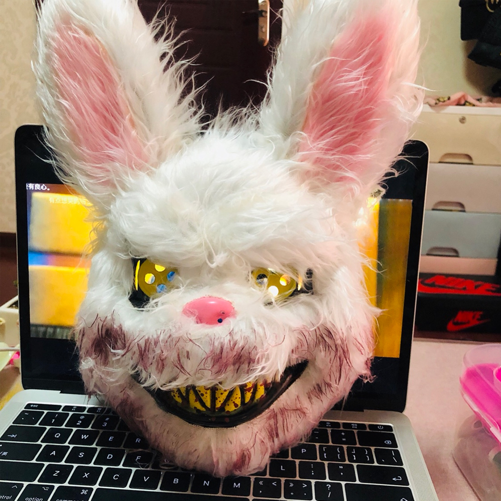 2019 New Halloween Mask Bloody Killer Rabbit Mask Teddy Bear Halloween Plush Cosplay <font><b>Horror</b></font> Mask For Kids Adults Wild Wolf Scary image