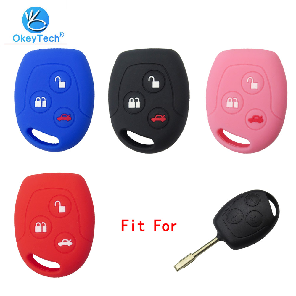 OkeyTech 3 Button Soft Silicone Car Key Case Set Cover For Ford Focus Mondeo 2 3 MK4 Festiva Fusion Suit Fiesta KA Protector Fob