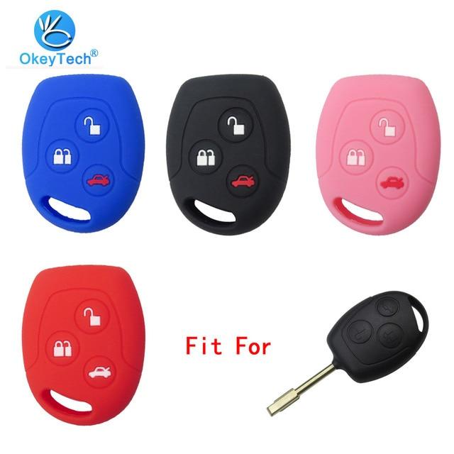 OkeyTech 3 botón suave funda de silicona para la llave del coche conjunto para Ford Focus Mondeo 2 3 MK4 Festiva fusión traje Fiesta KA Protector Fob