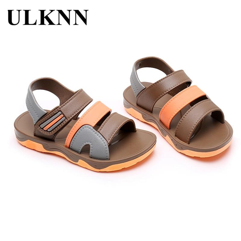 ULKNN New Summer Children Sandals For Boys Flat Beach Shoes Kids Sports Casual Student Leather Sandals Soft Non-slip Fashion