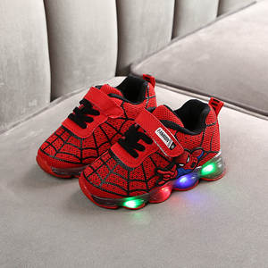 Shoes Boys Luminous-Sneakers Glowing Spider-Man Baby-Girls Mesh Led Lighted