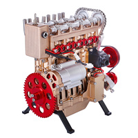 New Teching Custom Mini Inline Four Cylinder Car Engine High Level Metal DIY Assembly Model Toy Gift   Luxury Gold + Red