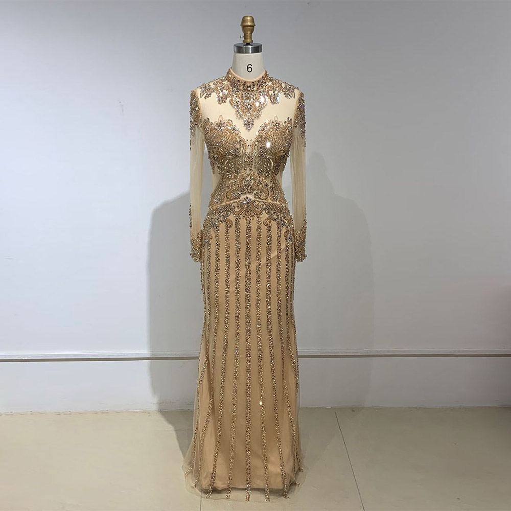 YQLNNE 2020 Gold Rhinestones Long Sleeve Evening Dresses High Neck Beaded Mermaid Formal Evening Gown Pageant Dress