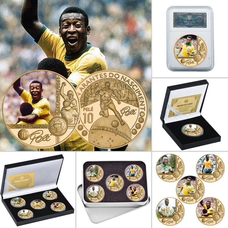 Позолоченная памятная монета Король футбола, Набор монет с держателем для монет, сувенирный подарок для Него|Безвалютные монеты|   | АлиЭкспресс