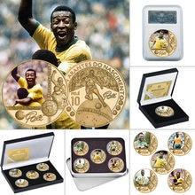 Позолоченная памятная монета Король футбола, Набор монет с держателем для монет, сувенирный подарок для Него