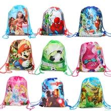 1 шт., Мультяшные принадлежности для тематической вечеринки, Нетканая сумка на шнурке, единорог, Человек-паук, Мститель, Принцесса Марио, Моана, нарисованная карманная подарочная сумка