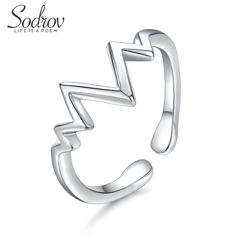 SODROV 925 Sterling Silver Simple Lightning Opening Adjustable Ring Heartbeat Opening Silver Ring For Women Silver 925 Jewelry