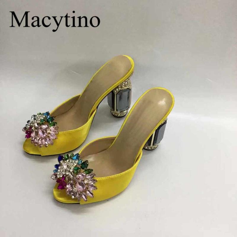 Macytino Designer Shoes Women High Quality Leather Slippers Jeweled Heel Beading Fringed High Heel Slides Shoes Women