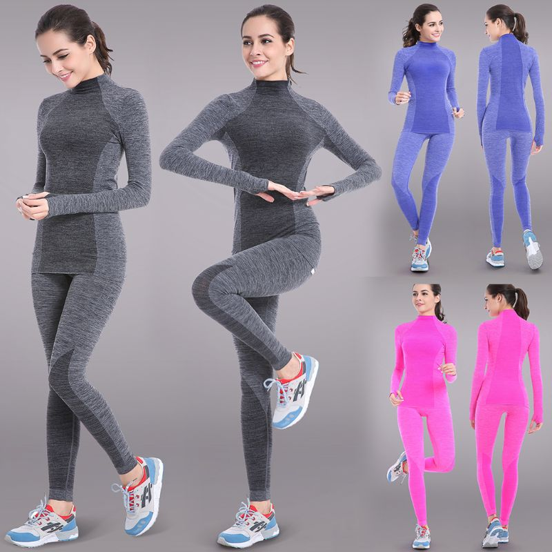 2019 Winter Thermal Underwear Women Lady Casual Sportwear Solid Color Elastic Breathable Female Casual Warm Long Johns Set