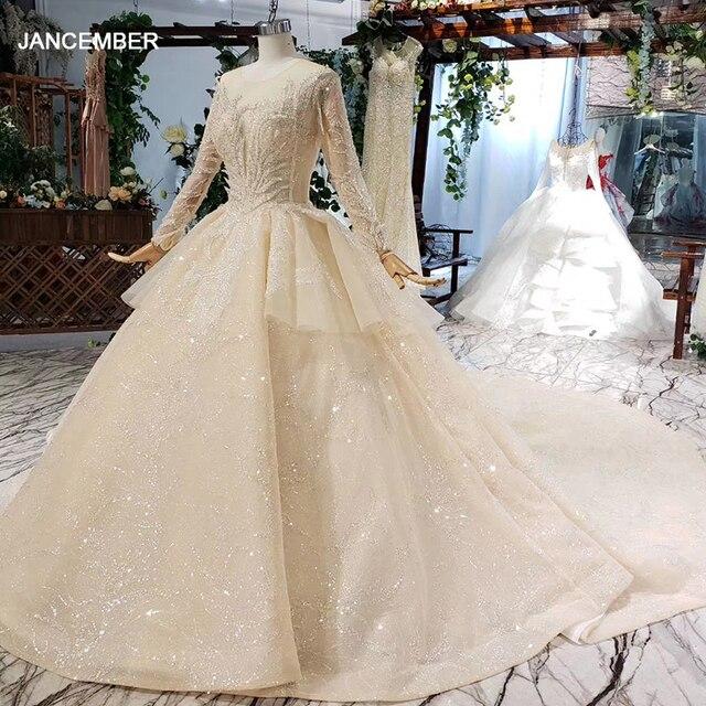 HTL627 lüks gelinlik uzun kollu o boyun ağır el yapımı boncuk gelinlikler 2019 keyhole geri vestido de novia con manga
