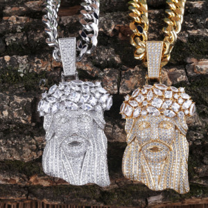 Image 3 - JINAO New Big Jesus Necklace & Pendant With Tennis Chain gold Color Iced Out Cubic Zircon Mens Hip Hop Jewelry Gift