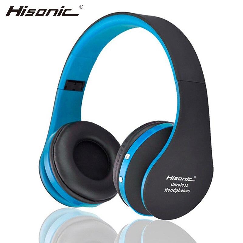 Hisonic sem fio fones de ouvido portátil com cancelamento ruído fone v4.1 dobrável com microfone usb gaming headphone bs-sun-8252