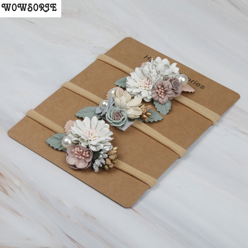 Korean Girl Baby Headbands Newborn Baby Elastic Princess Floral Hairbands Kids Pearl Flower Fresh Style Cute Hair Accessories