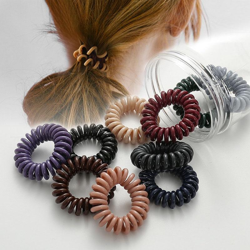 Haimeikang  Phone Line Hair Rubber High Elastic Scrunchies Plastic Hair Ropes Women Ponytail Holder Spiral Hair Accessories
