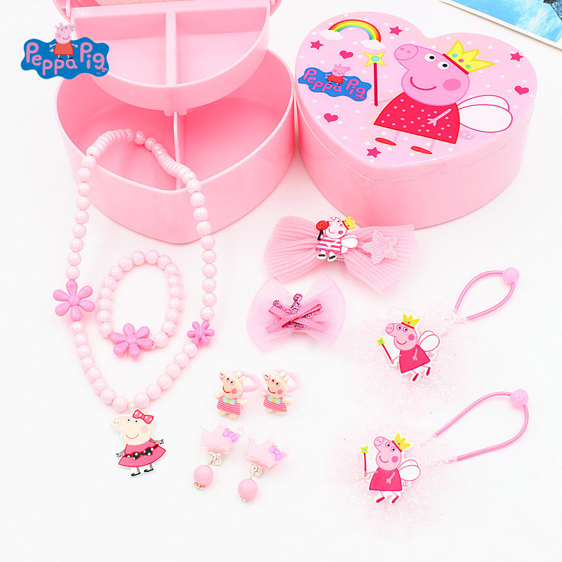 Peppa Pig Figure Toys Hair Children's Set Accessories Jewelry Box Head Rope Ring Hair Clip Cartoon Cute Sweet Girl Birthday Gift