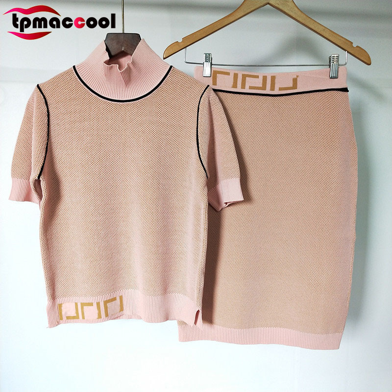 Tpmaccool Luxury Designer 2 Piece Set Women High End  Letter Print Shirt Sleeve Knitted Top Tshirt + Skirt Set Two Piece Outfits
