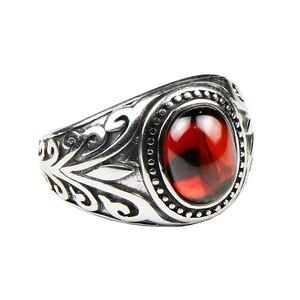 Image 5 - Echt 925 Sterling Zilveren Sieraden Vintage Ringen Voor Mannen Gegraveerde Bloemen Met Rode Granaat Natuursteen Fijne Sieraden
