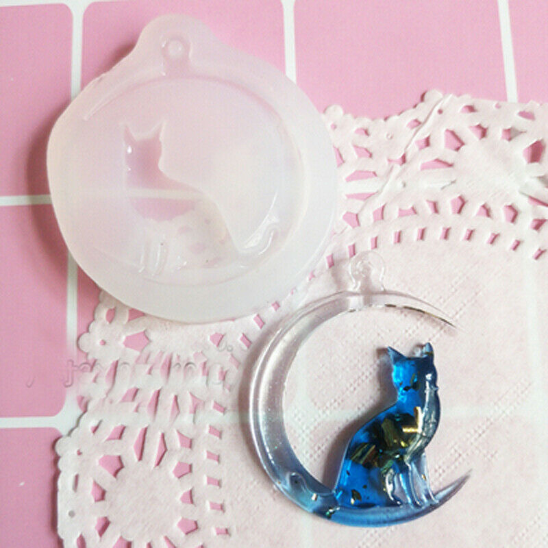 1pcs Clear Epoxy Resin Liquid Mold Moon Cat Silicone Pendant Necklace Mould Jewellry Making Resin Epoxy Casting Craft