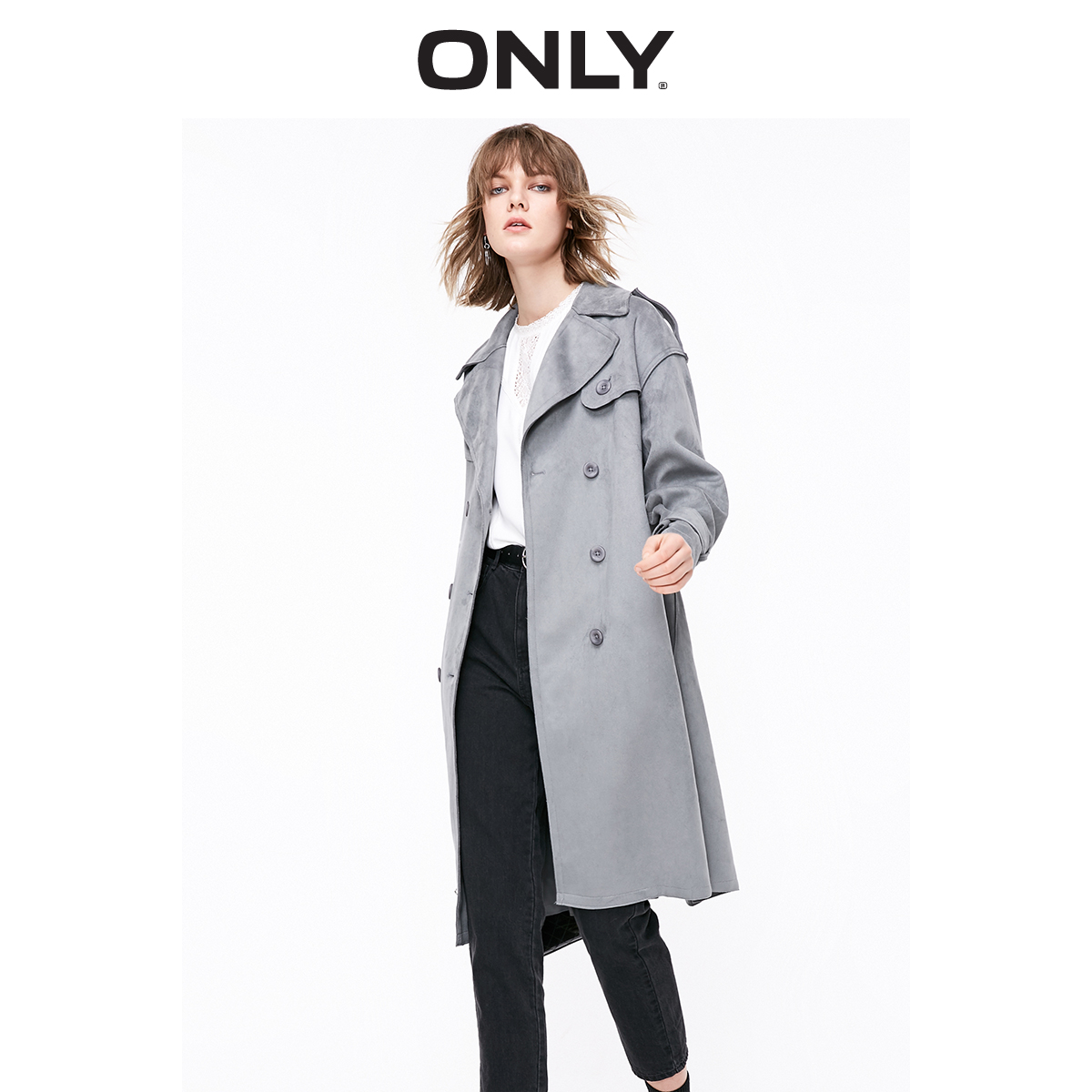 ONLY Autumn Winter Women's Long Suede   Trench   Coat | 119136522