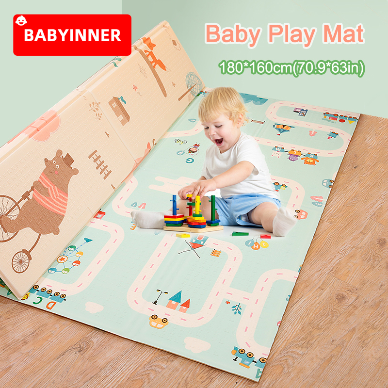 Babyinner 180*160cm(70.9*63in) Foldable Baby Play Mat XPE Material Comfortable Kids Rugs Non-slip Durable Indoor Crawling Mat
