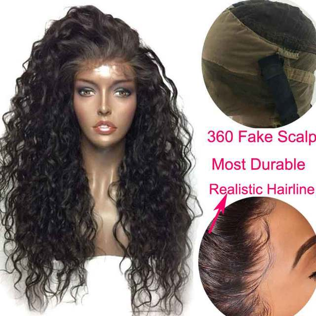 Invisible HD Lace Wig Preplucked Water Wave Wig Bleached Knots Black Fake Scalp Remy Women 360 Lace Frontal Transparent Wig