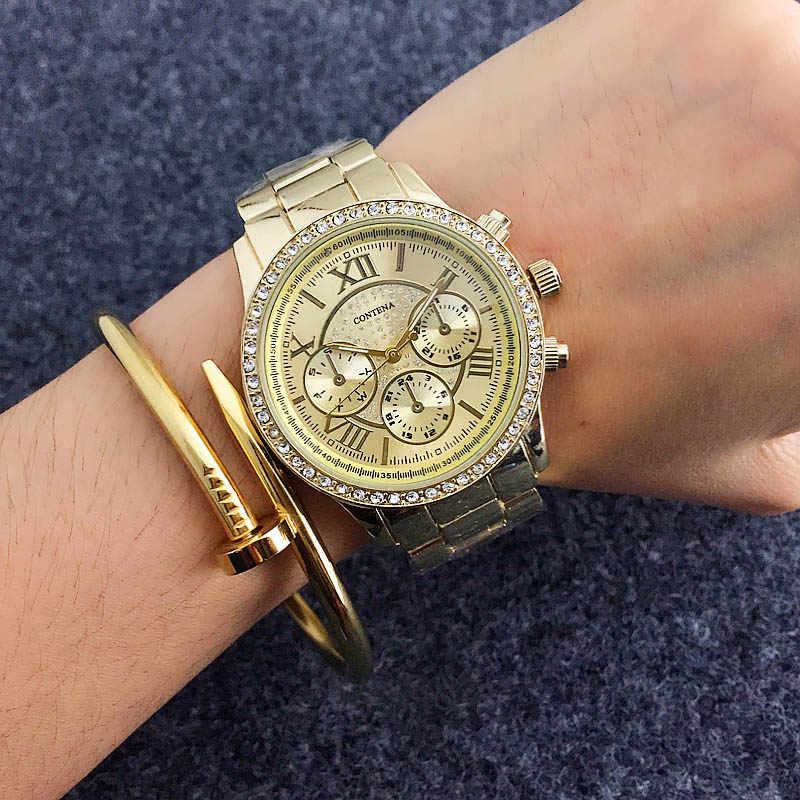 Contena luxo rosa ouro feminino relógios de cristal diamante relógio moda senhoras relógio de pulso de aço completo relógio de pulso montre femme