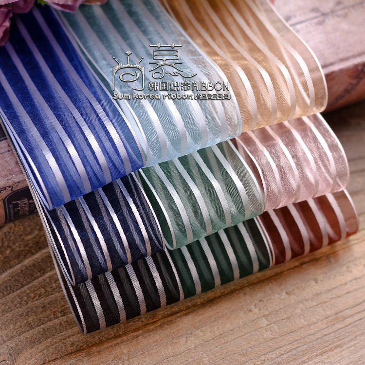 100yards 16 25 40mm silver stripes organza sheer ribbon for korean hair bow diy accessories handcraft supplies gift packing bow in Ribbons from Home Garden