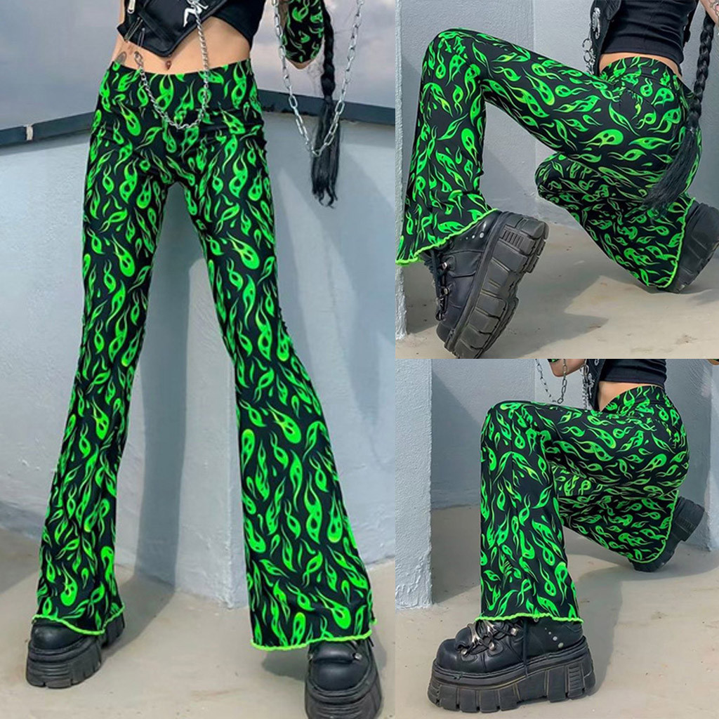NEW Fashion Novelty Pants Womens Elastic Waist Printing Pattern Slim Fit Casual Trousers Loose Flare Pants Freeship брюки