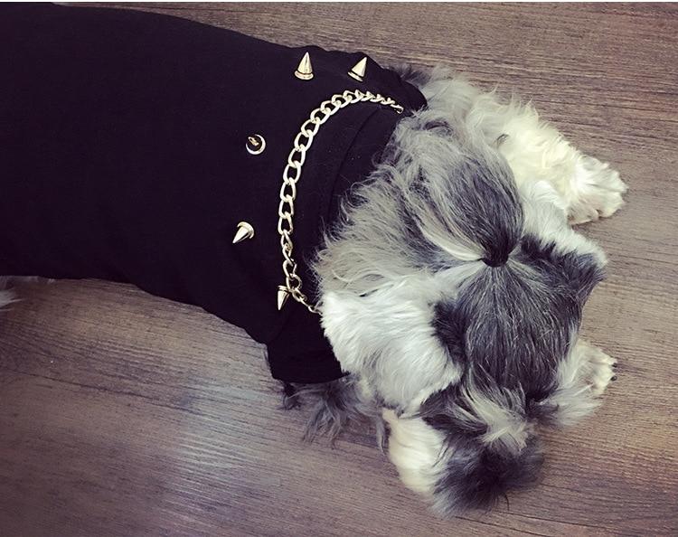 New Dog Clothes: Chenery Hip Hop Big Gold Chain Bull Fighting Teddy Pet Dog Cat Rivet T-shirt Fashion Dog Winter Clothes Dog