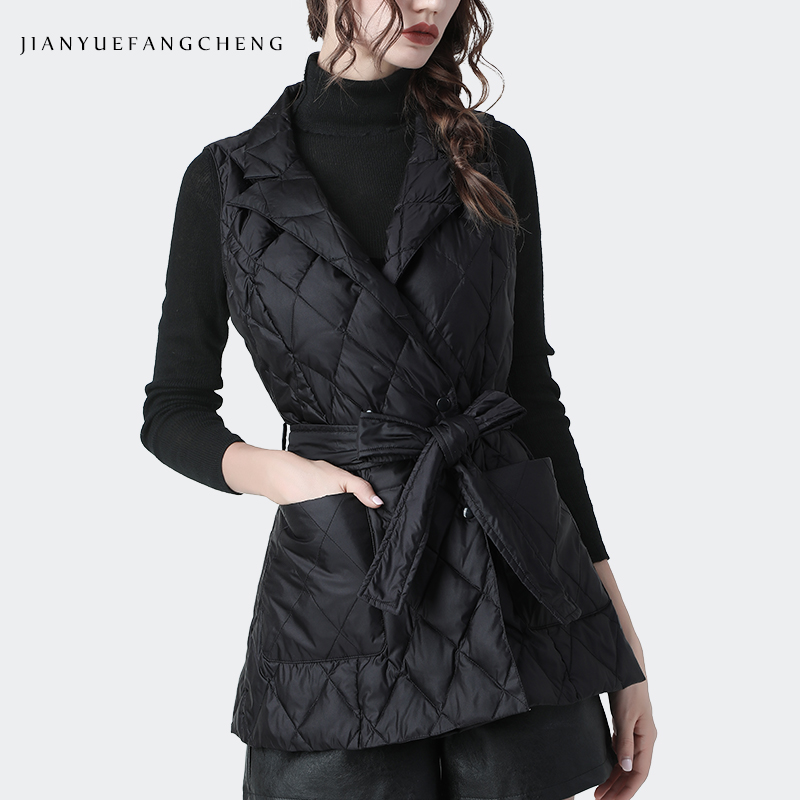 Fashion Sleeveless Duck   Down   Vest Women Warm Thickened Winter   Down     Coat   Notched V-Neck Plus Size Streetwear Female   Down   jackets