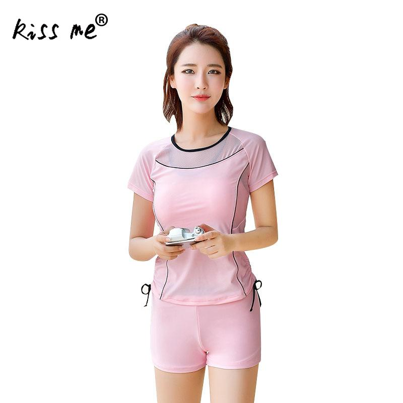 Solid Cute Three Piece Swimsuit With T-Shirt Cover Up Conservative Women Tankini Set Summer  Holiday Bathing Suit Swimming Wear