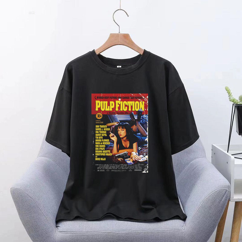 Pulp Fiction Movie Fashion Unisex Tshirt Aesthetic Hip Hop T Shirt Men Streetwear Harajuku Vintage Oversize T-Shirt