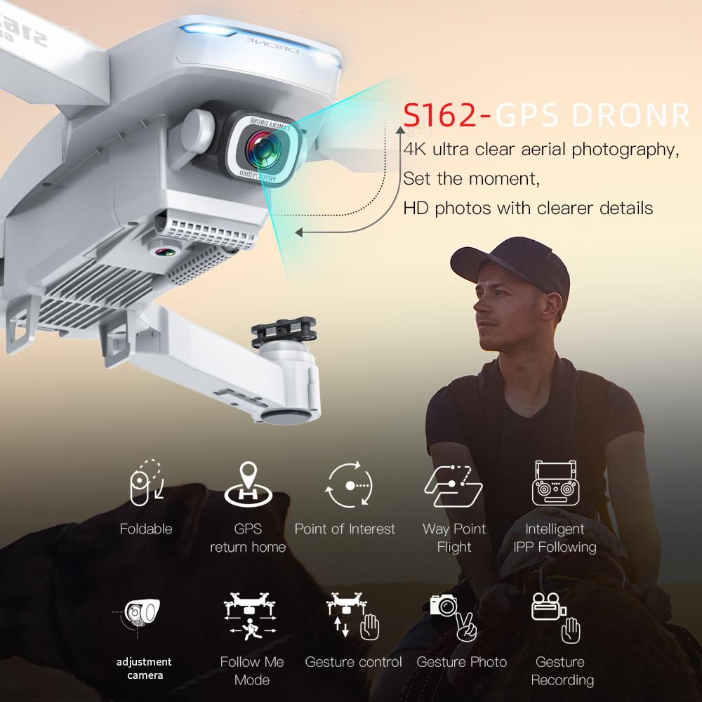 XKJ GPS Drone S162 4K 1080P HD Camera 5G WIFI FPV Foldable Quadcopter One-Key Return RC Distance 500 Meters Long Battery Life