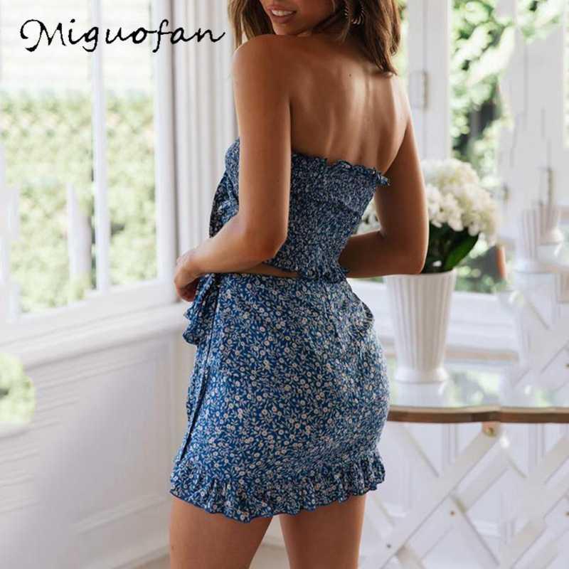 Miguofan 2 sztuk zestaw kobiety Ruffles Lace Up Crop topy Camics i Mini spódnice Bodycon urząd Lady 2 sztuk garnitury ustawia 2019 lato