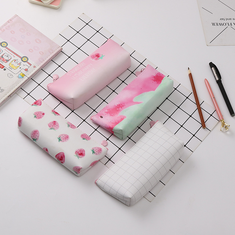 Golden Bean Simple And Creative Strawberry Pu Pencil Bag Cute Student Supplies Pencil Bag Storage Bag Large Capacity Pencil Box