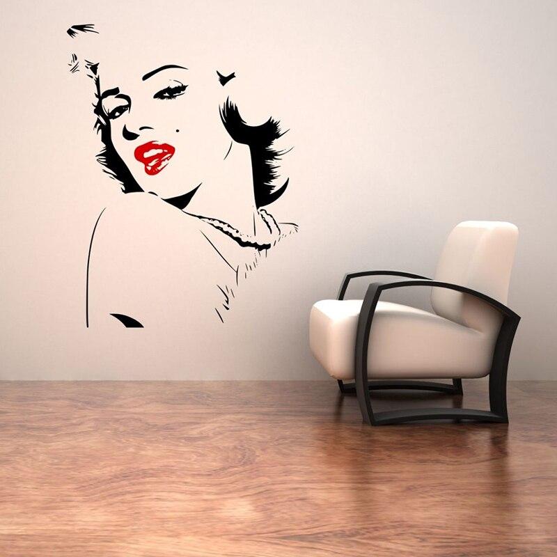 Beauty Women Salon Sexy red lips Beauty Face Wall Sticker Vinyl Art Design Home Decor Bedroom Decals Fashion Poster Mural W650