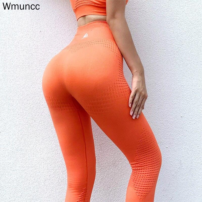 Штаны Для Йоги Wmuncc с завышенной талией, бесшовные леггинсы для спортзала, тренировочные колготки, женские брюки для фитнеса, бега, спорта, пу...