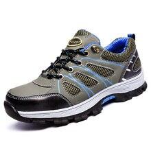 Erkek iş çizmeleri erkekler için çelik burunlu güvenlik ayakkabıları inşaat delinme geçirmez iş ayakkabısı