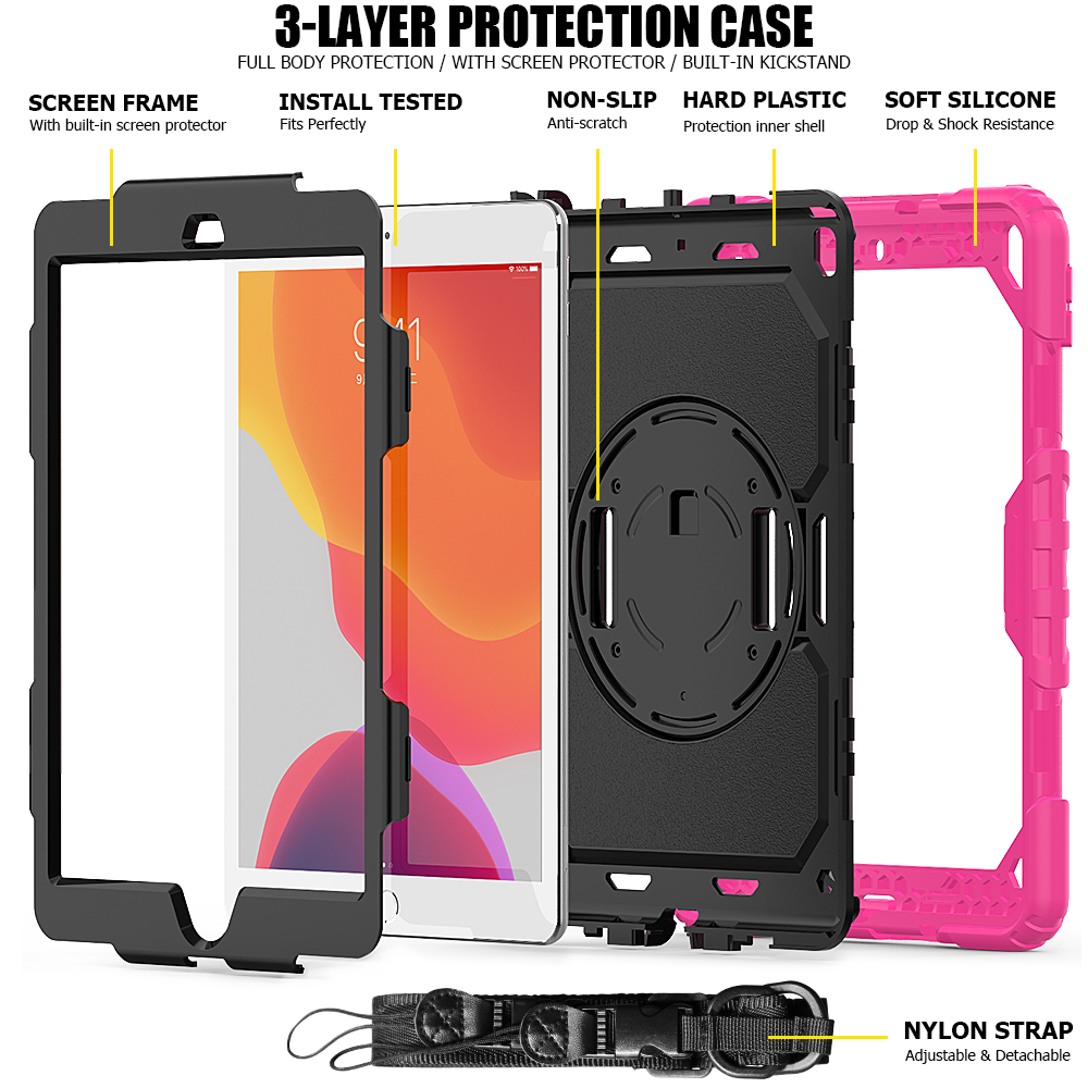Silicon iPad rotation A2198 360 A2232 PC 10.2 funda degree 2020 cover 8th A2200 Stand Shockproof For 7th Kids case Gen straps