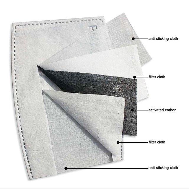 PM2.5 5 Layers Activated Carbon Filte Mask Insert Protective Anti Dust Antivirus Flu Anti Infection Disposable Face Mask Pad 1