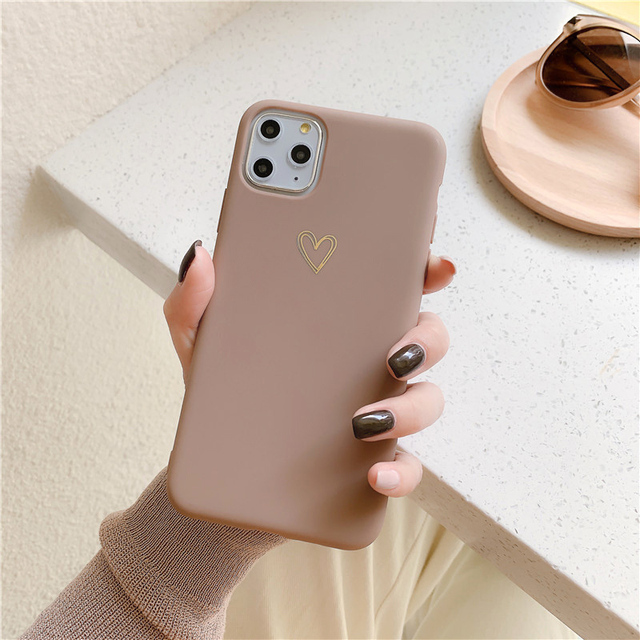 Gold Love Heart Phone Case for IPhone12 Pro Max XR 7 6 8 Plus Solid Color Cover for Iphone11promax Xs Max Soft TPU Mini Capa 2