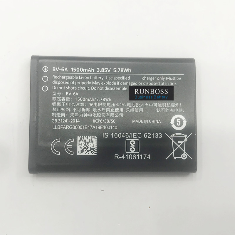 Runboss Original Quality 1500mah BV-6A for Nokia Banana 2060 3060 5250 C5-03 8110 4G