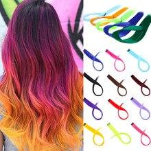 LUPU 22-дюймовый длинный прямой Радужный хайлайтер цветные синтетические удлинители волос на клипсе слитный Омбре розовый фиолетовый зеленый...