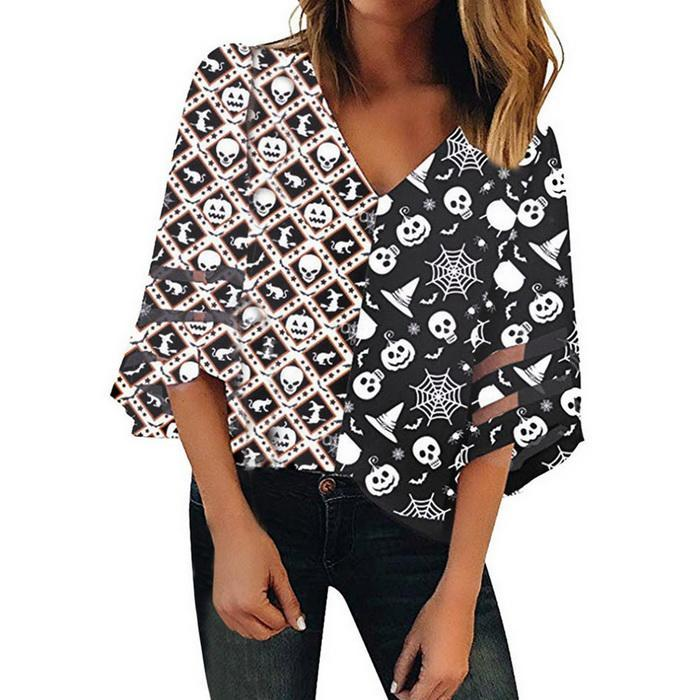 Ellymi XUE Hua PIAO PIAO Fashion Womens V-Neck Casual Loose Solid Color Short Sleeve Snowflake Letter Print T-Shirt