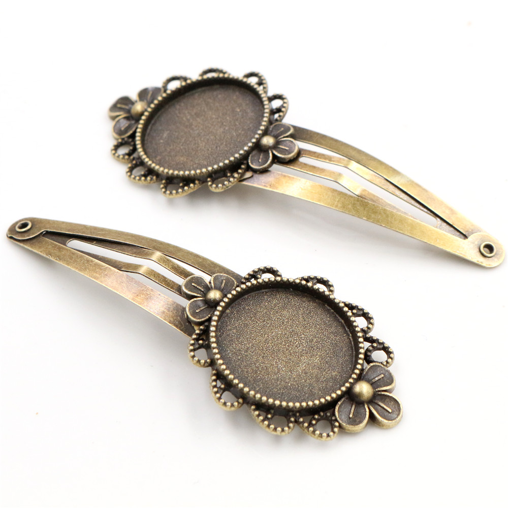 20mm 5pcs High Quality Bronze Plated Copper Material Hairpin Hair Clips Hairpin Base Setting Cabochon Cameo  J5-21