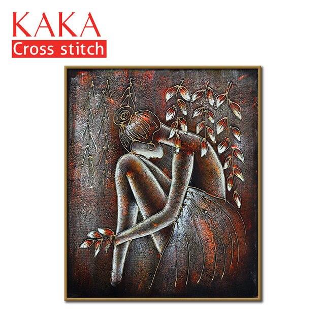 クロスステッチキット、刺繍裁縫セット印刷されたパターン、 11CT canvas のための家の装飾絵画、肖像フル NCKP032
