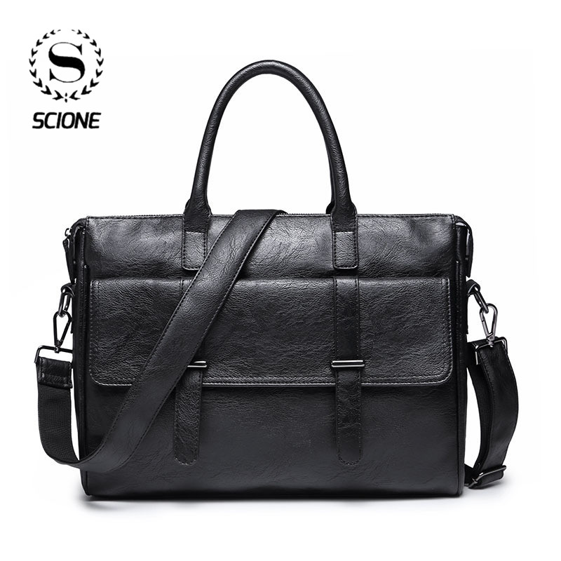 Scione Men's Business Bag Leather Briefcase Bag For Men Office Laptop Messenger Bag Leather Tote Bag