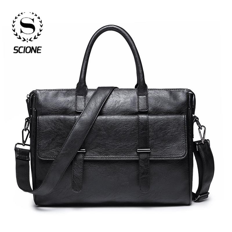 Scione Men's Business Bag Leather Briefcase Bag For Men Office Laptop Messenger Bag Leather Tote Bag