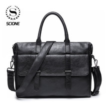 Scione Men's Leather Briefcase bag New Portable Business Bag For Men Office Laptop Messenger bag Leather Tote bag